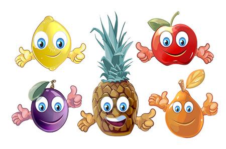 caras graciosas: Funny cartoon fruits icons  lemon plum pear apple and pineapple. Vector illustration