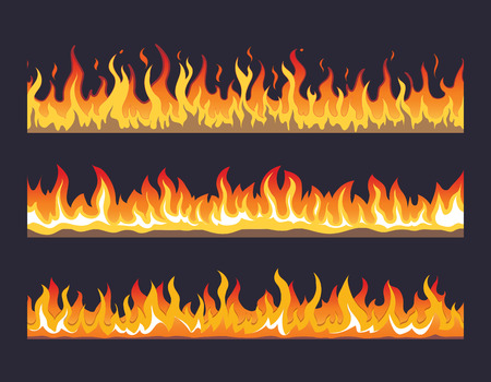 inflame: Fire flame seamless set. Burn hot, warm heat energy, flammable fiery, vector illustration