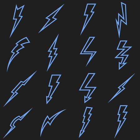 thunderbolt: Lightning black linear outline icons set. Thunderbolt arrow, power storm, flash electric energy, vector illustration Illustration