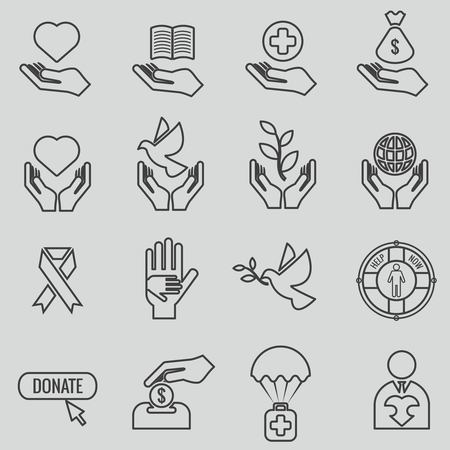 donor: Charity and donation line icons set. Heart love, donate hand, coin and aid, hope and giving symbol, vector illustration