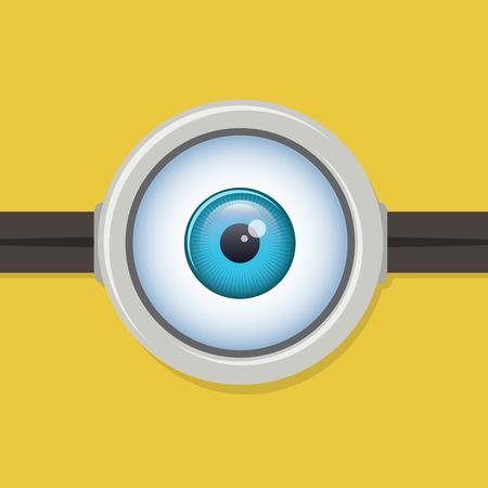 one eye: One eye glasses or goggles. Minion yellow closeup lens, eyeball vector illustration