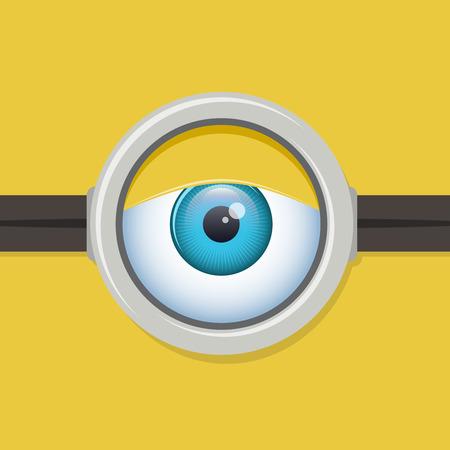 eyelids: Cartoon one eye glasses or goggles eye. Look eyesight, emotion and expression. Vector illustration character Illustration