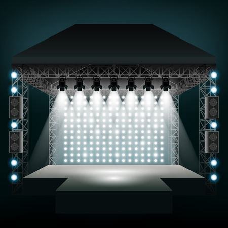 plataforma: Etapa del concierto con focos. Espectáculo y la escena, entretenimiento fiesta disco. ilustración vectorial