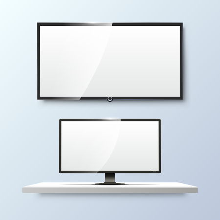 lcd screen: Lcd monitor and empty white flat TV screen. Display blank, technology digital, electronic equipment. Vector illustration templates