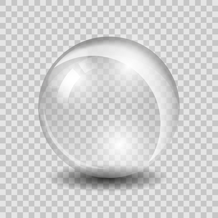 White transparent glass sphere glass or ball, shiny bubble glossy, vector illustration