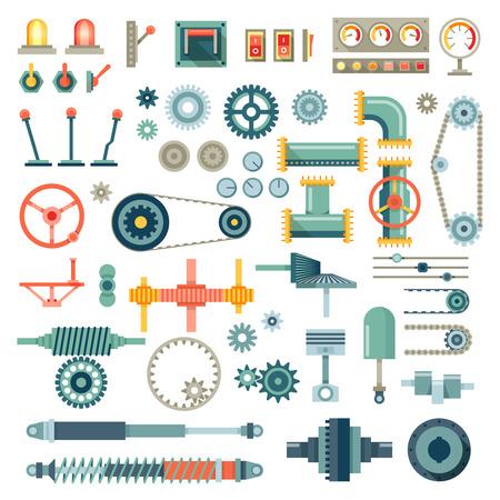 maquinaria: Partes de iconos planos del mecanismo establecido. , El equipo parte, mecánico de motores técnica de la industria, la ilustración del vector de engranajes mecánicos