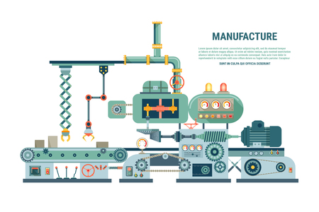 factory: Industrial abstract machine in flat style. Factory construction equipment, engineering vector illustration