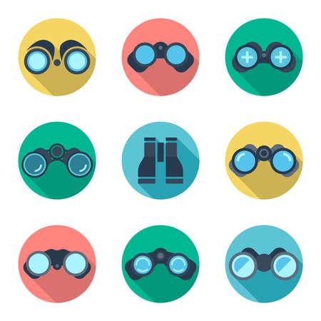 Binoculars flat vector icons set. Ddiscovery vision, spy equipment, explore see illustration Illustration