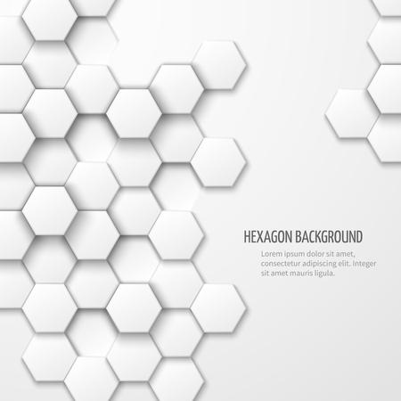 六角形の要素を持つ抽象的な背景は。ビジネス パターン、幾何学的なカバー白テクスチャ、ベクトル イラスト
