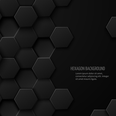 hexagon: Carbon technology abstract background with space for text. Hexagon pattern geometric cover, vector illustration