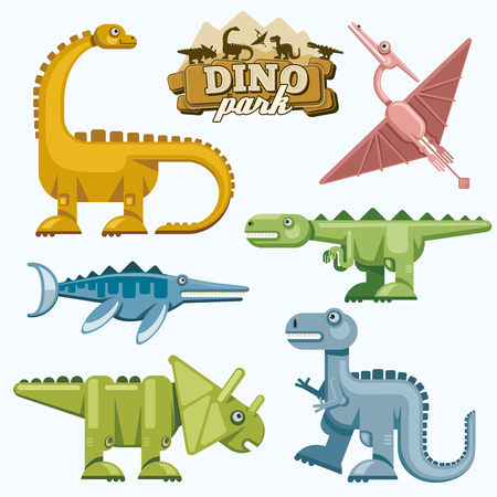 animal cartoon: Dinosaur and prehistoric animals flat icons set. Pterodactyl tyrannosaurus triceratops and brontosaurus, vector illustration Illustration