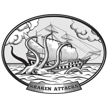 Sailing ship and Kraken monster octopus emblem hand drawn style. Tentacle ocean, nature giant, vector illustration