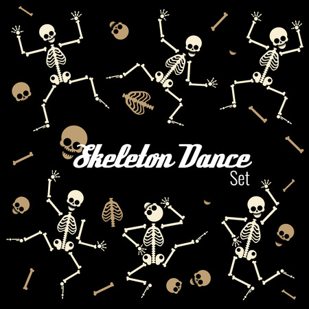 Dancing skeletons in different poses. Skull human, anatomy cartoon, rib spine gymnastic. Vector illustration icons set