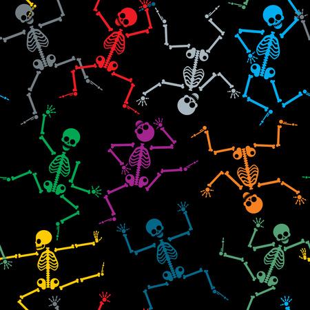 baile caricatura: Esqueletos Modelo inconsútil del fondo, caricatura rendimiento, color de dibujos animados baile, ilustración vectorial