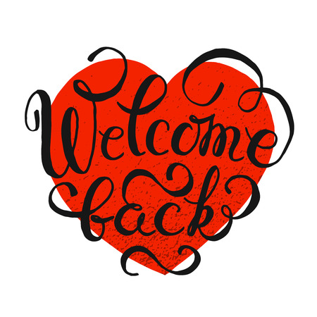 postcard back: Welcome Back hand drawn lettering typography. Text typography word postcard greeting, vector illustration