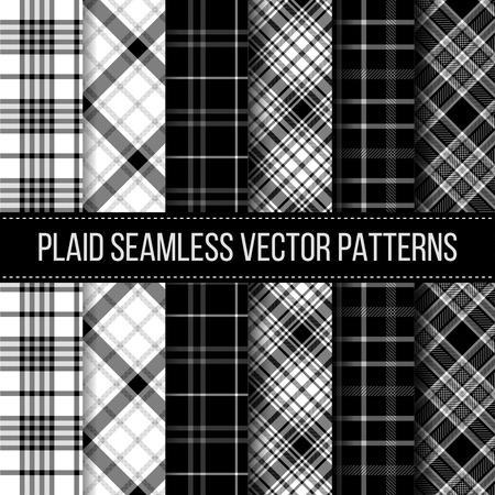 gingham: Black and White plaid, buffalo check, gingham seamless patterns set. Fashion cloth textile, vector illustration Illustration