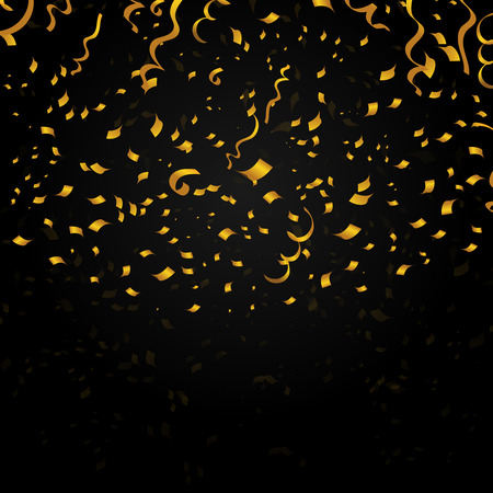 Gold confetti on black background. Decoration design for christmas holiday party, new year. Vector festive illustration
