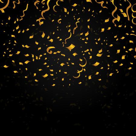 Or confetti sur fond noir. Déco design pour Noël fête de Noël, nouvel an. Vector illustration festive Illustration