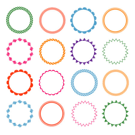 Embroidery stitches circle frames set. Decorative, round element, vector illustration  イラスト・ベクター素材