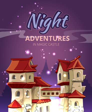 titles: Medieval city background computer game with user interface UI and title in cartoon style. House architecture building, construction artwork, vector illustration