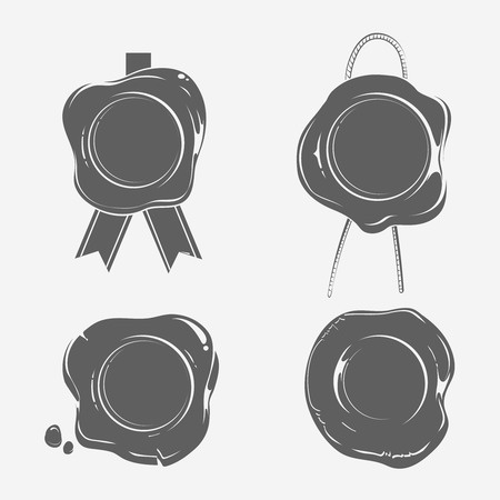 Wax seals black silhouette templates set. Certificate stamp, insignia warranty, label blank empty, vector illustration Illustration