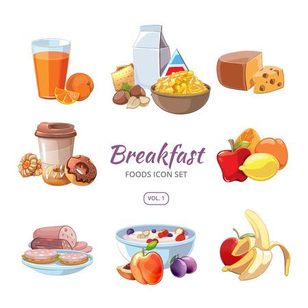comiendo cereal: Iconos de los alimentos de desayuno en el estilo de dibujos animados. Almuerzo del café, naranja y la nutrición de la mañana, deliciosa fruta fresca, ilustración vectorial
