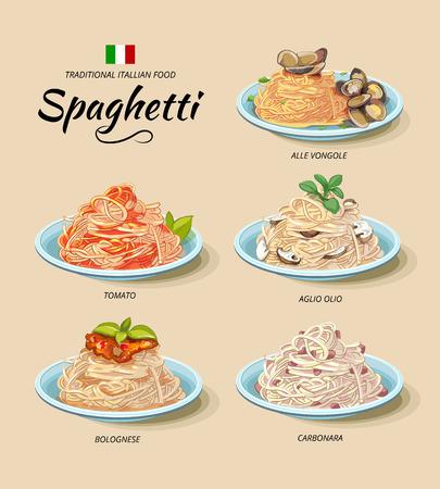 cocina caricatura: Espaguetis o platos de pasta ubicado en el estilo de dibujos animados. menú de cocina italiana, el tomate y el boloñesa, alle vongole y olio Aglio, carbonara ilustración vectorial Vectores