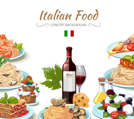 Italian cuisine food background. Cooking lunch pasta, spaghetti and cheese, oil and wine. Vector illustration