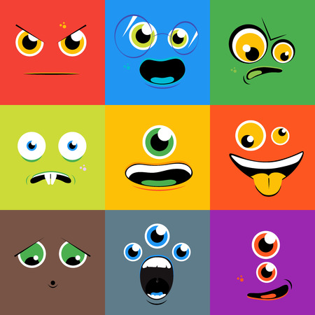 Monster gezichten pictogrammen in vlakke stijl. Cartoon eye karakter, persoon met tong, schepsel mutant, vector illustratie