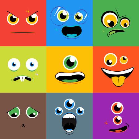 asombro: Monster se enfrenta a iconos en estilo plano. personaje de dibujos animados ojo, persona con la lengua, mutante criatura, ilustración vectorial