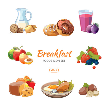 Cartoon breakfast food icons set. Biscuits and donuts, nuts and berries, vector illustration