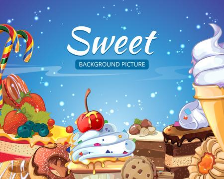 paleta de caramelo: Dulces extracto fondo dulces, pasteles, rosquillas y piruletas. Postre de chocolate y helado, magdalena sabrosa, ilustración vectorial