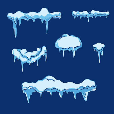 Ice sheet with icicle. Winter frost cold, illustration crystal icy, temperature frozen, nature seasonal. Vector set in cartoon style