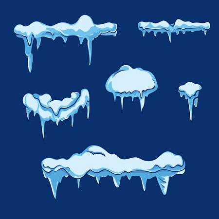 feuille de glace avec stalactite. Hiver froid givre, illustration cristaux de glace, température gelé, la nature saisonnière. ensemble de vecteur dans le style de bande dessinée