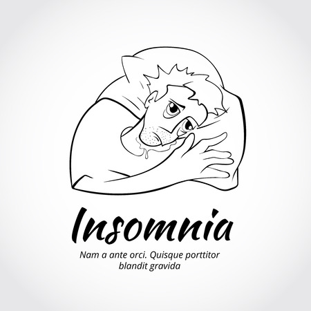 insomniac: Outline sleepless man character in bed. Problem with sleep. Vector illustration Illustration
