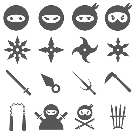 sword fight: Ninja, samurai and weapons icons set. Weapon and samurai, sword japanese, blade traditional, vector illustration