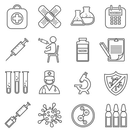 vaccinations: Medical vaccinations outline linear icons set. Health medicine, hospital and vaccine, doctor and laboratory, vector illustration