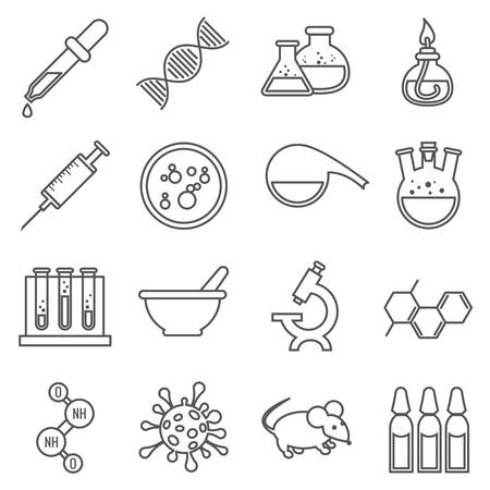 virology: Clinical medical laboratory line  icons set. Microscope and dna, rat and bulb, virology and procedure molecular. Vector illustration Illustration