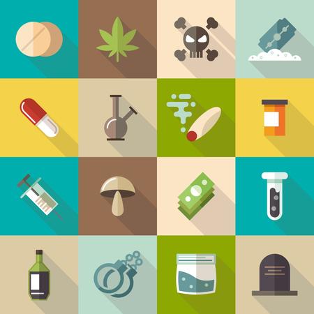drogadiccion: establecen las drogas iconos planos. narcótico marihuana, la adicción y la cápsula, tubo de humos, farmacia tableta, ilustración vectorial