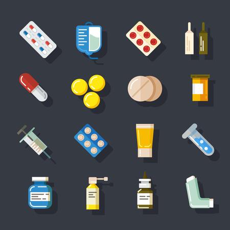 industry icons: Drugs or medicine. Pills, capsules, mixture bottles flat icons set. Health medical, tablet vitamin, vector illustration Illustration