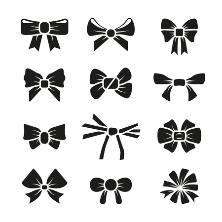 accessory: Decorative gift bows black icons set. Gift present birthday fashion knot, vector illustration