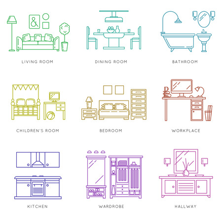 detailed: Home rooms interior in linear style. Kitchen bedroom wardrobe dining room. Vector illustration icons set