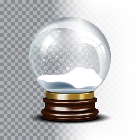 christmas snow globe: Christmas snow globe on checkered background. Magic ball with snowflake, shiny translucent, vector illustration Illustration