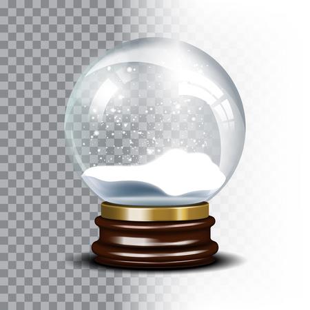 magic ball: Christmas snow globe on checkered background. Magic ball with snowflake, shiny translucent, vector illustration Illustration
