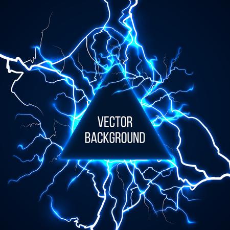 Formación tecnológica y científica con relámpagos. Luz de energía, flash eléctrico, tormenta eléctrica de choque, carga de energía, ilustración vectorial
