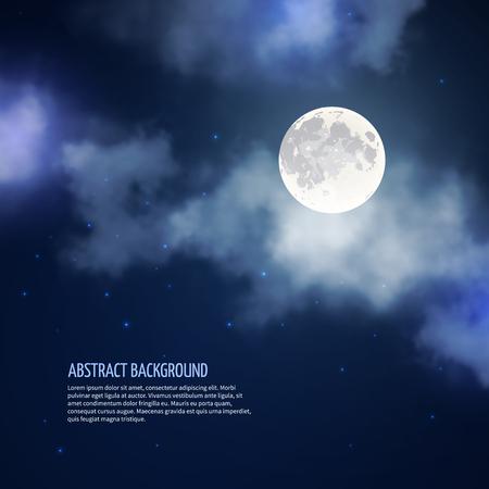 luz de luna: cielo nocturno con la luna y las nubes de fondo abstracto. la naturaleza brillante romántica, luz de la luna y la galaxia, ilustración vectorial
