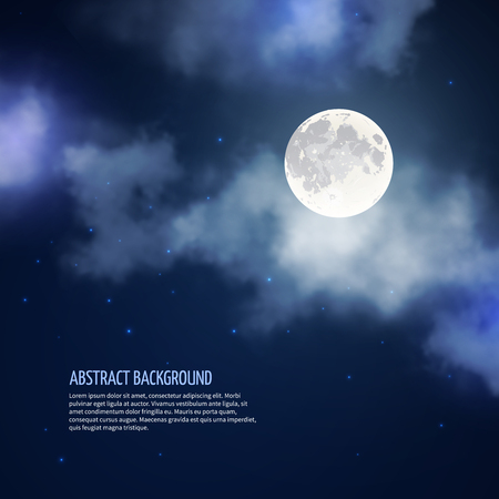 moonlight: Night sky with moon and clouds abstract background. Romantic bright nature, moonlight and galaxy, vector illustration