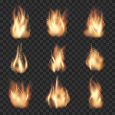 fuego llamas realistas sobre fondo transparente a cuadros. Burn caliente, llama de calor, la energía de incendios forestales, ilustración vectorial