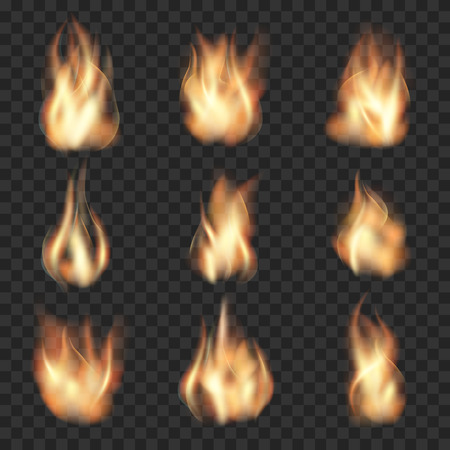 flame: Realistic fire flames on checkered transparent background. Burn hot, heat flame, wildfire energy, vector illustration Illustration