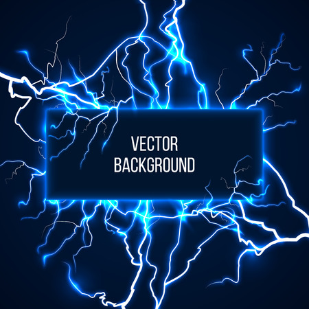 current: Vector banner with lightnings and discharge current. Electricit, voltage storm, weather nature illustration Illustration